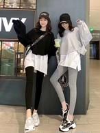 レイヤードデイリールック3点セット トレーナー レギンス セットアップ 韓国ファッション