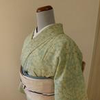 正絹絽 青竹色に白花の小紋 夏の着物