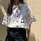 【送料無料】 アニマルイラストがCUTE♡ オーバーサイズ シャツ プリント カジュアル レトロ トップス