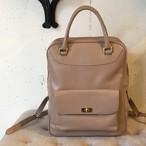 Leather backpack【kyoko model】(Pink beige)