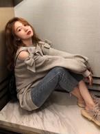 予約注文商品 MiuリボンスリットMTM スウェット トレーナー 韓国ファッション