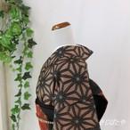 正絹紬 麻の葉の総柄小紋 袷