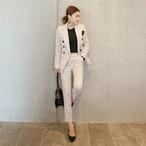 ウィンドウ チェック柄 セットアップ スーツ 長袖 ジャケット パンツ セット きれいめ 美ライン オルチャン 入学式 入園式 大きいサイズ