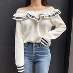 【tops】シンプル無地長袖切り替えセーター12982821