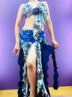 エジプト製 ベリーダンス衣装 ブルー薔薇柄
