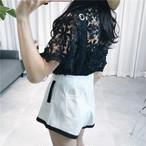 【新作10%off】lace tops + belt wide leg pants 2370