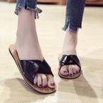 【shoes】レトロ無地スクエアトゥサンダル20045784