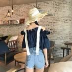 【新作10%off】belt off shoulder feminine blouse 2505