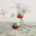 ジャパンヴィンテージ 方穴の2色コンビのカボーション (オレンジ・6コ)