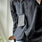 革のPASMO&Suicaホルダー【black】ロングストラップ