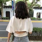 【tops】韓国系簡約・シンプルルオーバーラウンドネック無地透かし彫りファスナーTシャツ