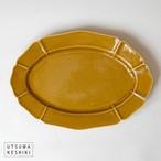[大井寛史]黄釉 楕円皿 大