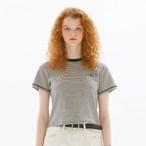 「PCC」ボーダー クロップド Tシャツ ホワイト