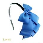 【カチューシャ】<グログラン>段々リボンカチューシャ・ブルー