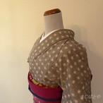 綿 グレーにピンクドットの小紋 単衣