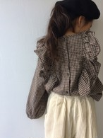 frill check blouse