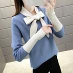 【tops】韓国ファッションリボンカラーセーター