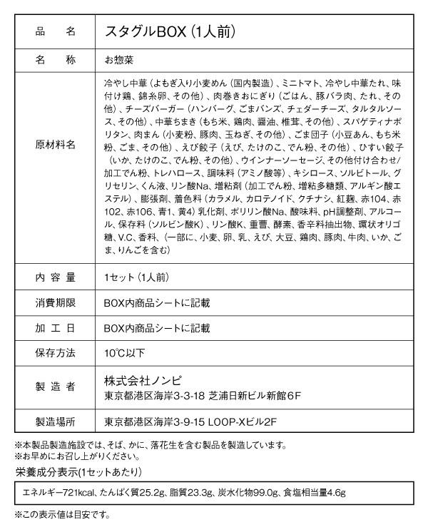 食品表示ラベル:スタグルBOX / 7月8日 VS 湘南ベルマーレ戦(1人前、2人前含む)