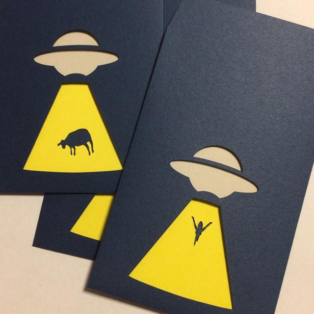 【 ユニーク紙雑貨 切り絵のぽち袋 UFO 】