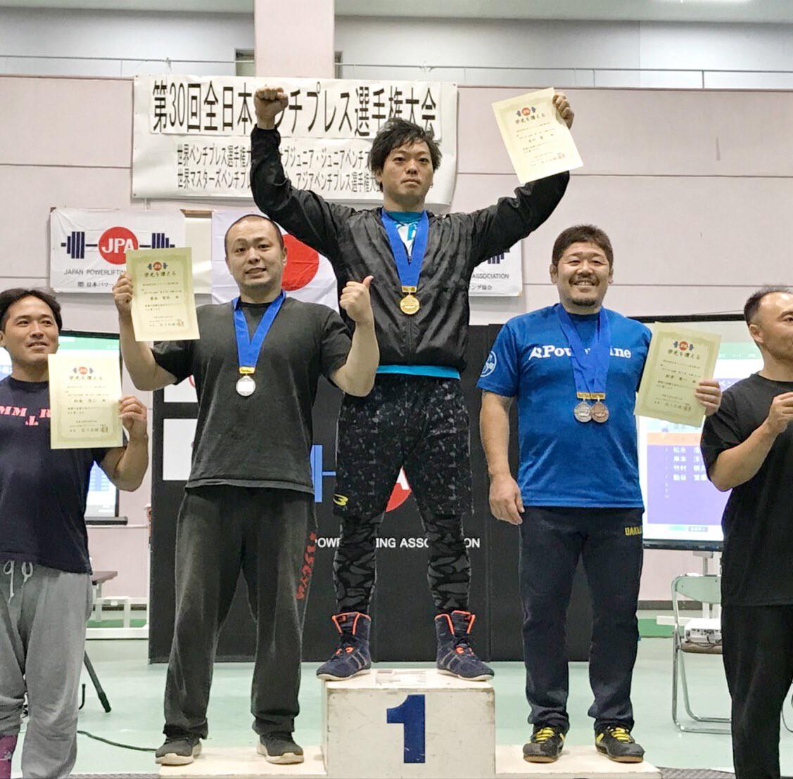 吉川望選手が全日本ベンチプレス大会93kg級優勝しました!