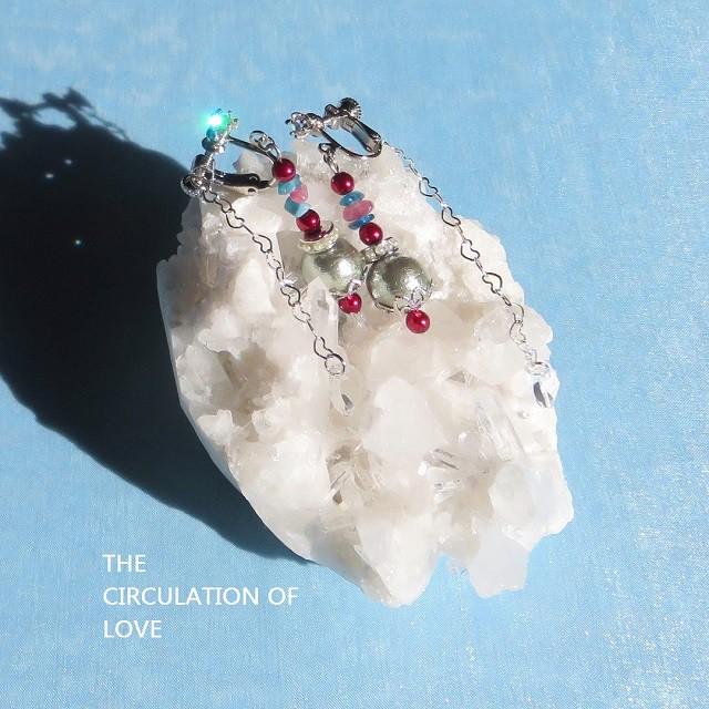 店頭販売新作!カイヤナイトとピンクトルマリンの天然石イヤリング&冬至のメッセージ