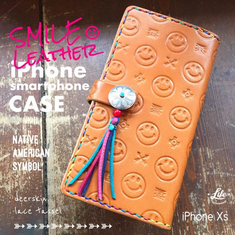 iPhoneXSケース(☺︎レザー+ネイティブ)/オーダー分