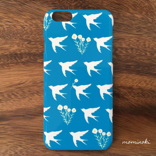 ひな菊と白い鳥(青空) スマホケース スマホカバー★iPhone/Xperia/Galaxyなど対応