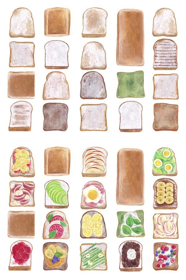 どんな風に食べようかな。美味しい食パンがずらり並んでいます。