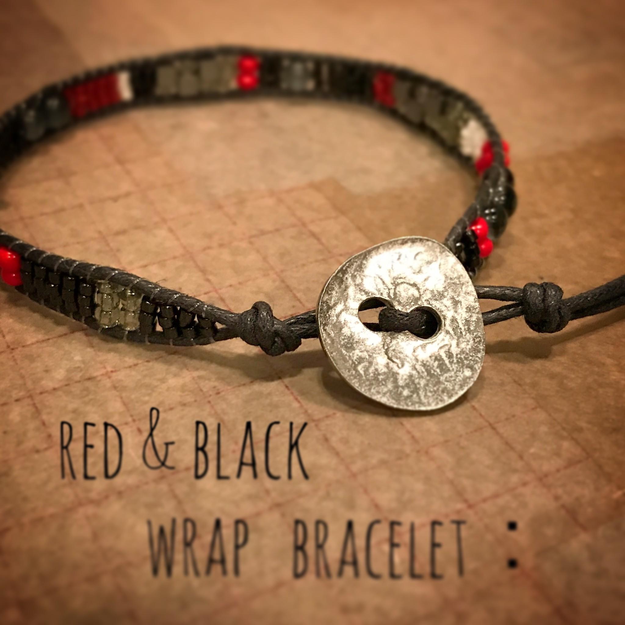 red & black wrap bracelet: