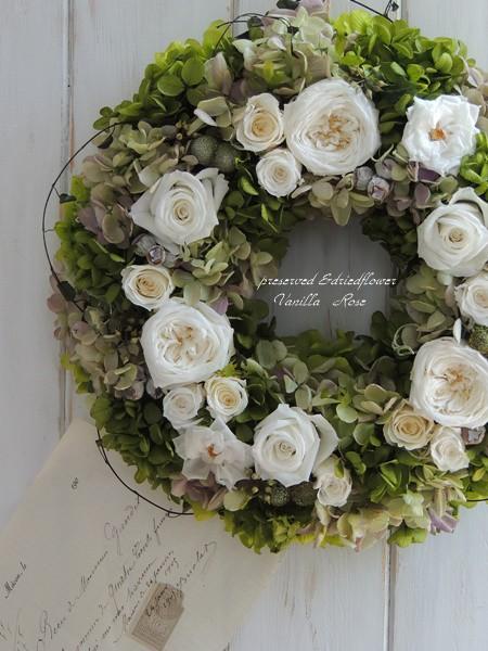 新作・バラと紫陽花のリース(直径27cm)を追加しました。