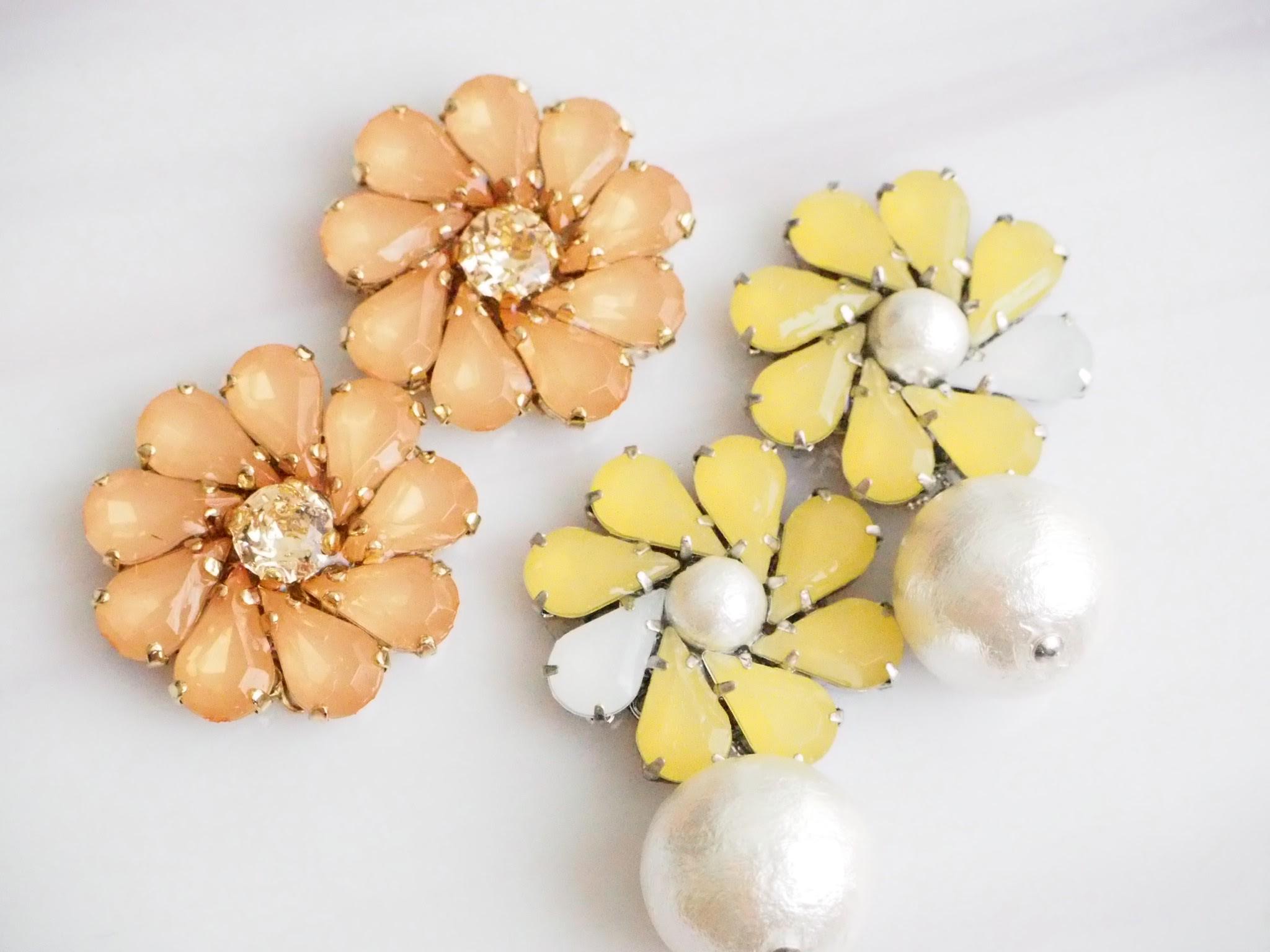 大輪の花ピアス イヤリング  ビタミンカラーで元気に咲き誇れ!