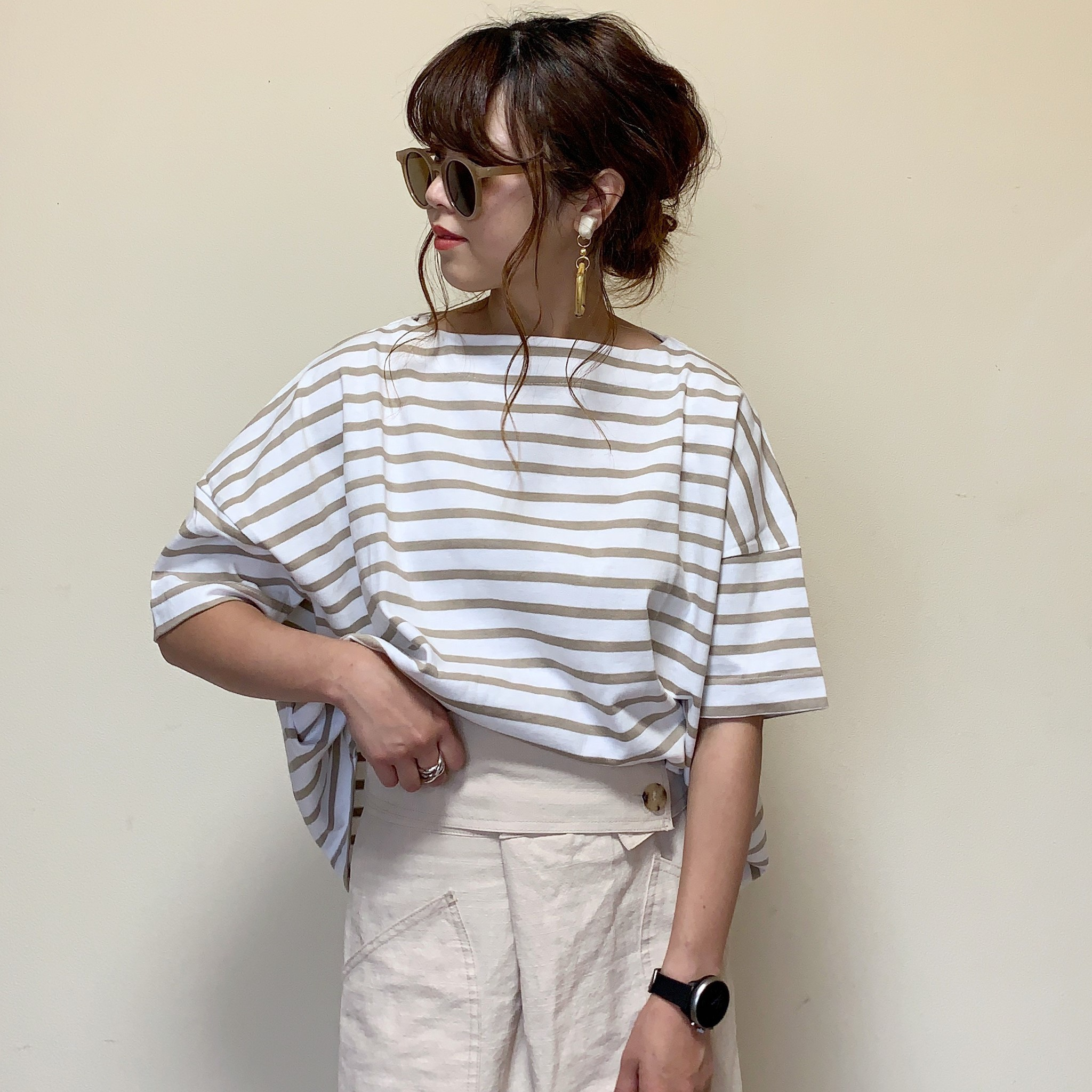 新入荷!Mii select ビッグシルエット バスクボーダーTシャツ