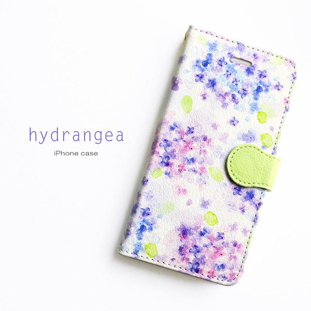 しっとり美しい紫陽花のスマホケース