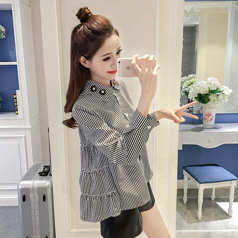 これぞオルチャンファッション☆バックフリルのギンガムチェックシャツ♡