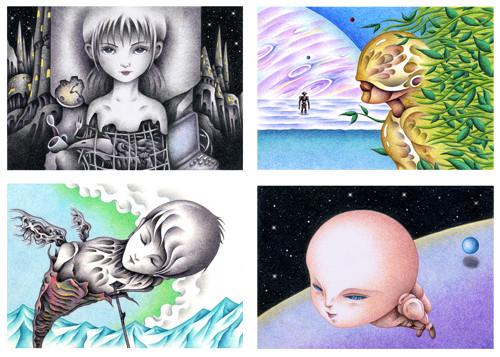 色鉛筆で描いた手描きイラスト「SF(サイエンスフィクション)イラスト」