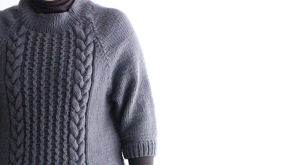 ニット会に参加されたお客様のセーターをご紹介です。