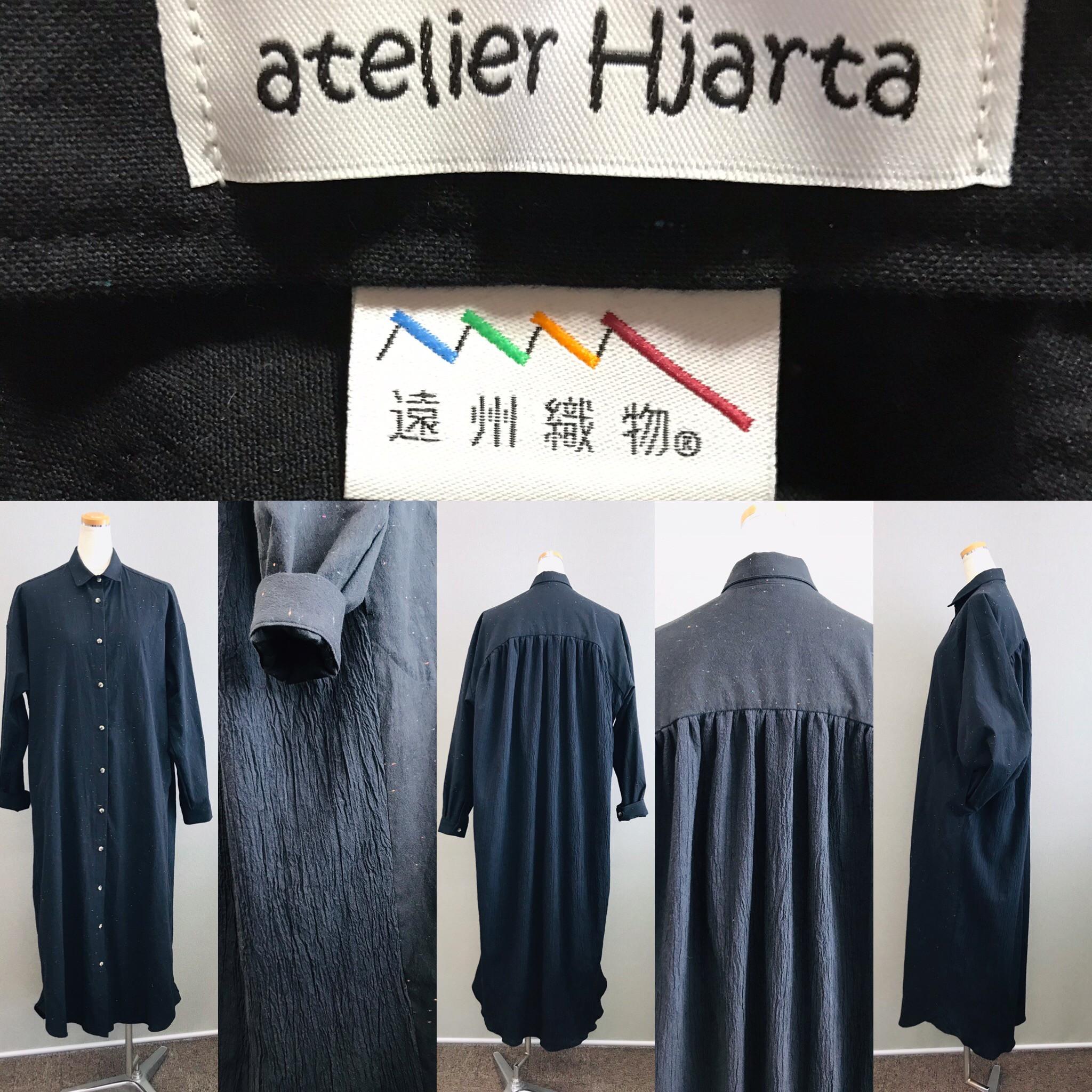 新作 榛地織物さんの生地を2種類使った 遠州織物シャツワンピース