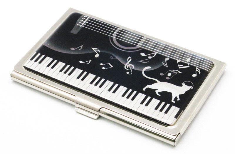 ネコがヘッドホン♬ 猫ピアノ螺鈿名刺ケース