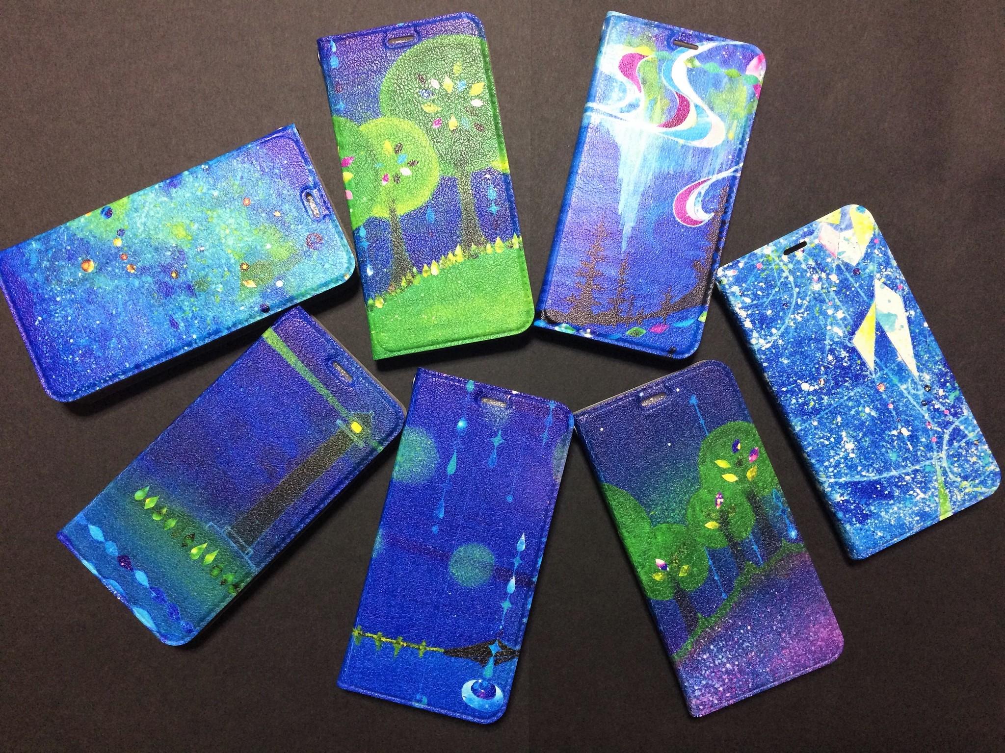 「碧い世界」シリーズの手帳型スマホケース、帯なしになりました