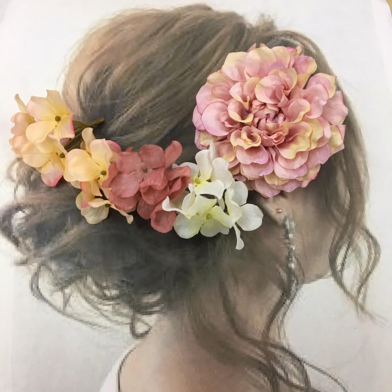 ピンクダリア&紫陽花 髪飾り 5点セット 入荷しました!