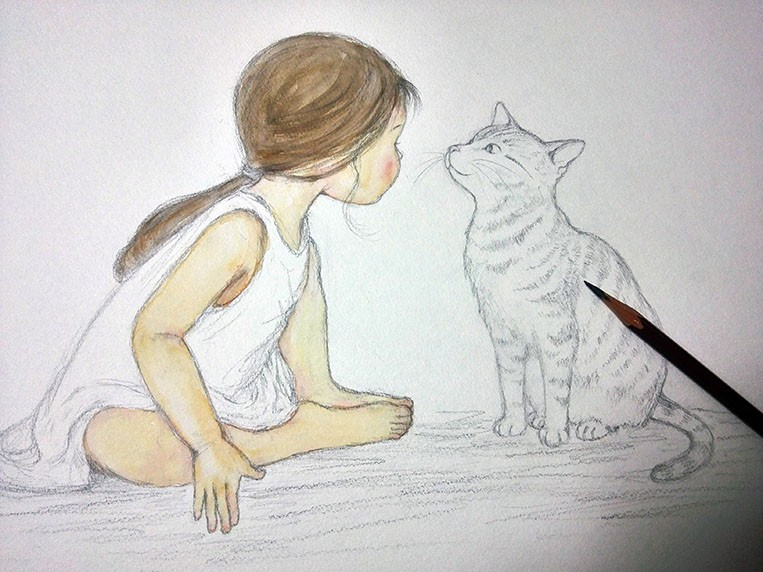 新しい絵を描いています。