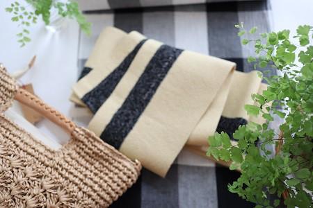 麻の半巾帯 ジュート×黒・白ミックス糸のすかし織り