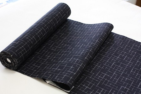 お手頃価格の浴衣反物◆綿麻浴衣生成りに格子
