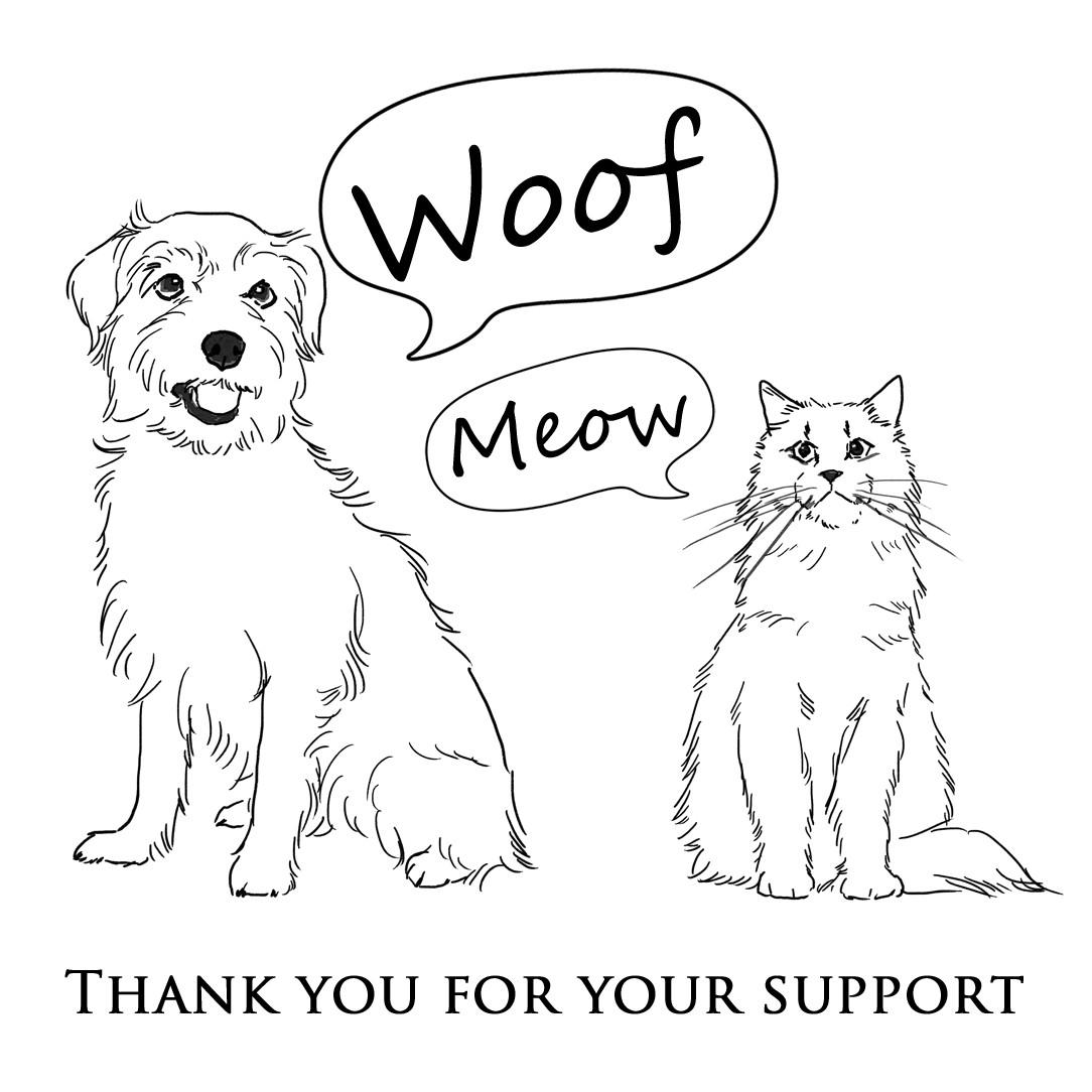 Woof & Meowより寄付についてのお知らせです