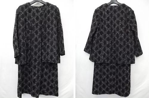 チャイナボタン 総網状刺繍 ジャケットワンピース アンサンブルスーツ セミロング 七分袖 L~XL