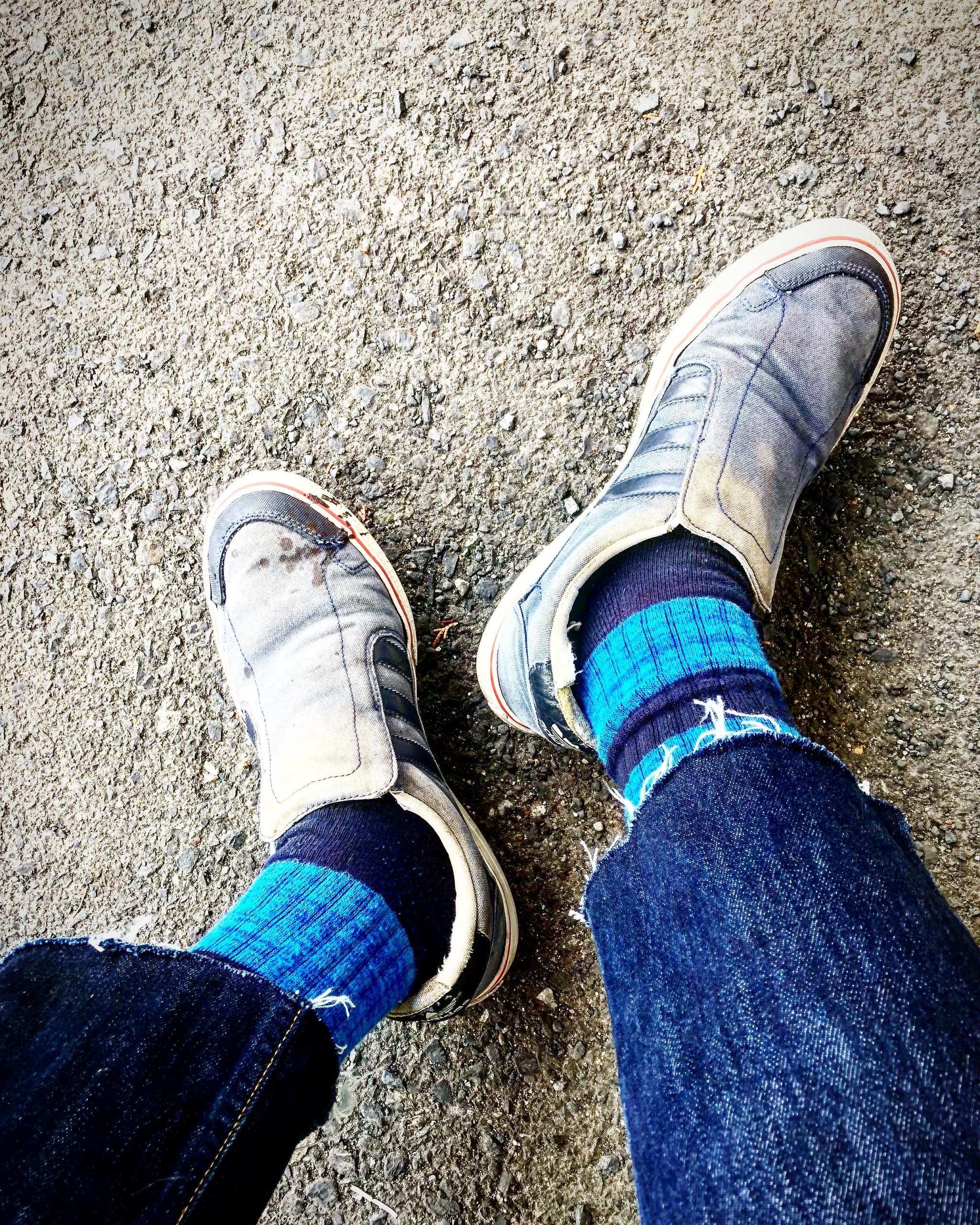 (Mix Border -blue- Socks) × adidas skate limited
