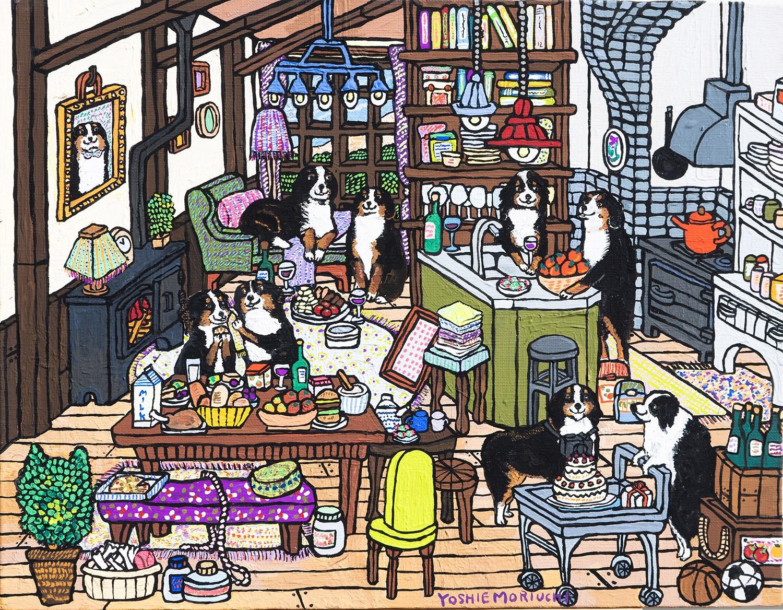 オーダー作品をご依頼をいただきバーニーズ・マウンテン・ドッグ達とボーダーコリーを描きました。