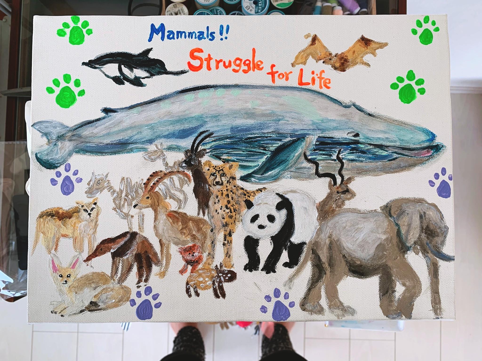 キッズアート→大哺乳類展で観た動物を描こう