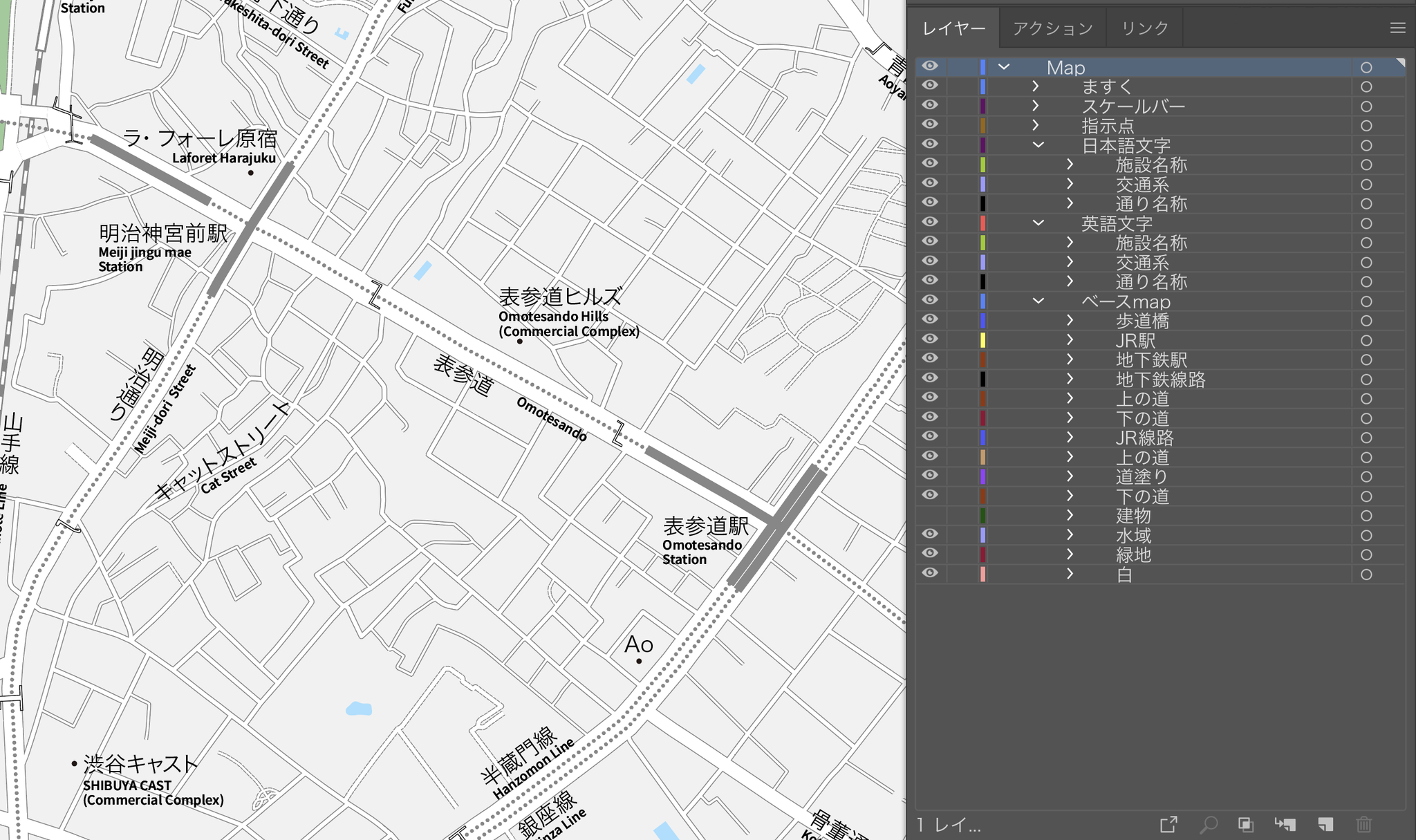 「編集・加工しやすい」に、こだわった地図 東京 原宿・表参道・青山のイラストレーターデータ