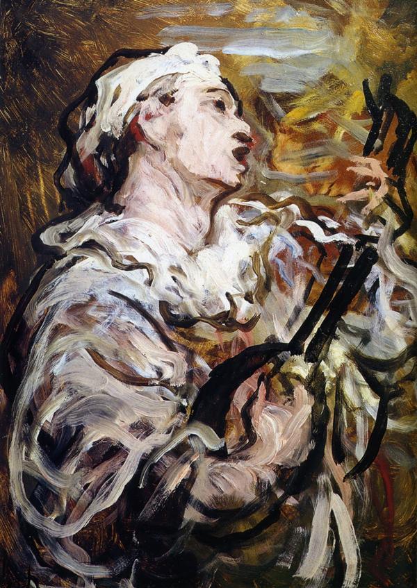 元祖イッキ描き、オノレ・ドーミエ(1808-1879) の《歌うピエロ》